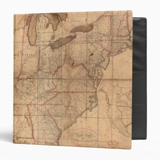 Map of the United States By Abraham Bradley Junior 3 Ring Binders