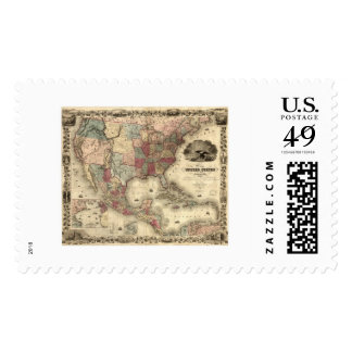 Map of the United States by Colton 1850 Stamp