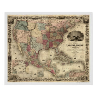 Map of the United States by Colton 1850 Poster