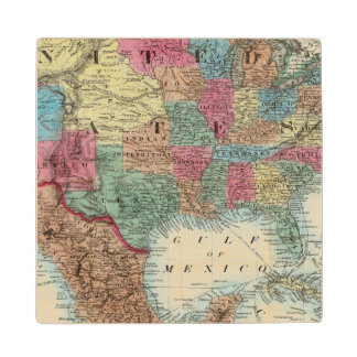 Map Of The United States, Canada, Mexico Maple Wood Coaster