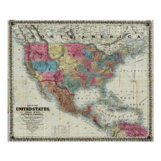 Map Of The United States, Canada, Mexico Poster