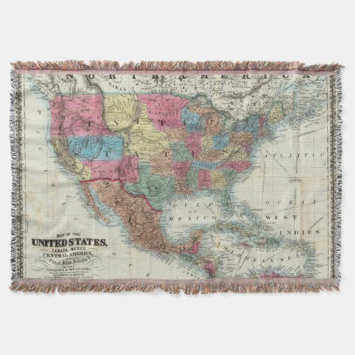 Map Of The United States, Canada, Mexico Throw Blanket