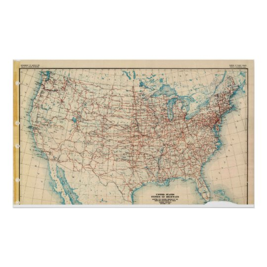 Map of the United States Highway System in 1926 Poster