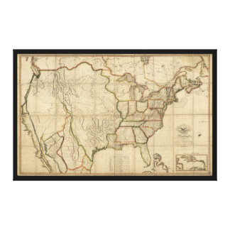 Map of the United States of America (1816) Canvas Print