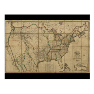 Map of the United States of America (1818) Postcard