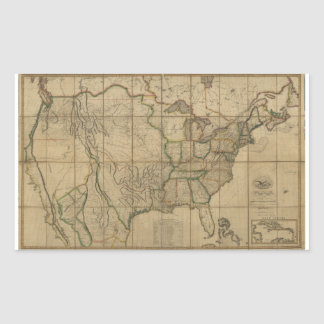 Map of the United States of America (1818) Rectangular Sticker