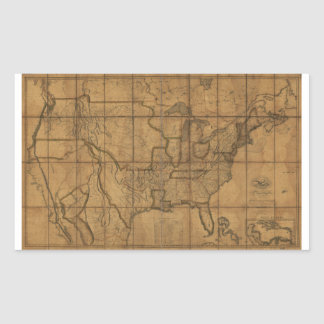 Map of the United States of America (1819) Rectangular Sticker