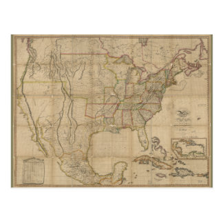 Map of the United States of America (1823) Postcard