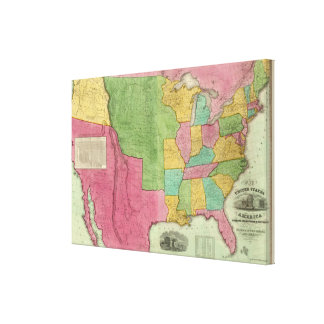 Map Of The United States Of America 1833 Gallery Wrapped Canvas