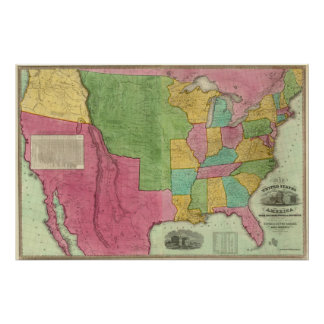 Map Of The United States Of America 1833 Posters