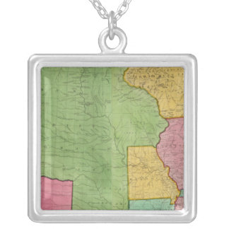 Map Of The United States Of America 1833 Silver Plated Necklace