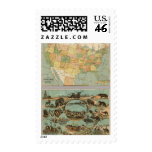 Map of the United States of America 2 Postage Stamps