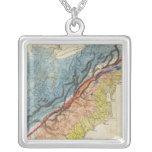 Map of the United States of America 3 Square Pendant Necklace