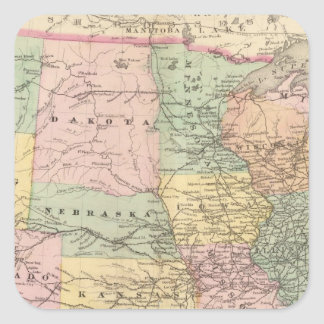 Map of the United States of America 3 Square Stickers