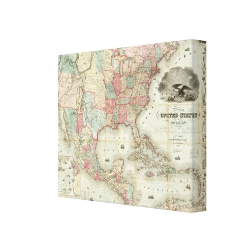 Map Of The United States Of America Stretched Canvas Print