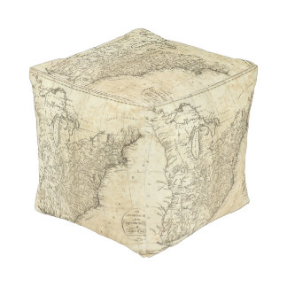 Map of the United States of America Cube Pouf