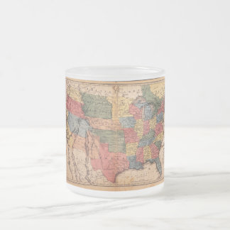 Map of the United States of America in 1853 Frosted Glass Coffee Mug