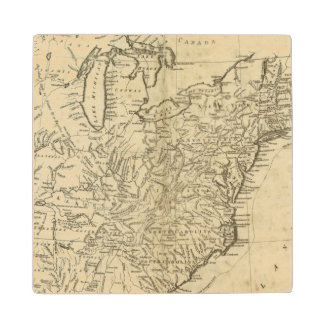 Map of the United States of America Maple Wood Coaster
