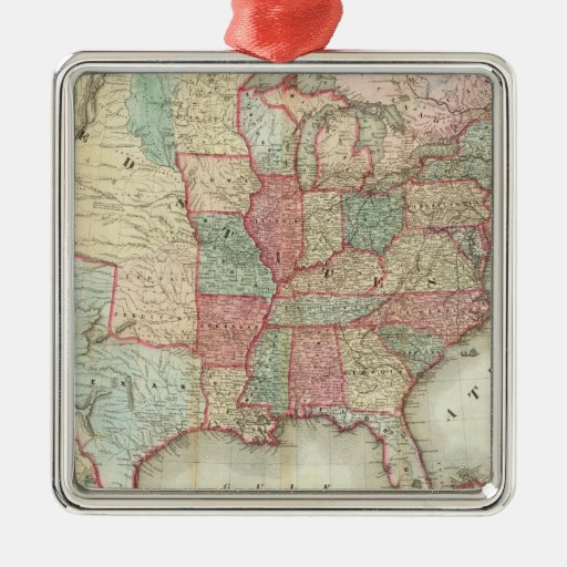 Map Of The United States Of America Square Metal Christmas Ornament