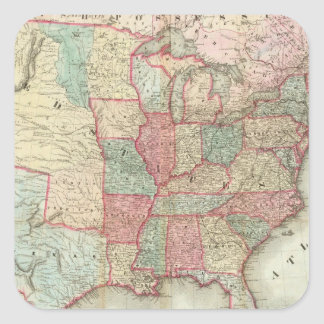 Map Of The United States Of America Square Stickers