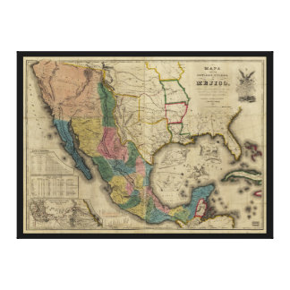 Map of the United States of Mexico (1847) Canvas Print