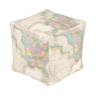 Map of the United States Of North America Cube Pouf