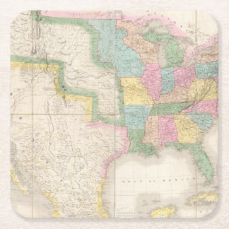 Map of the United States Of North America Square Paper Coaster