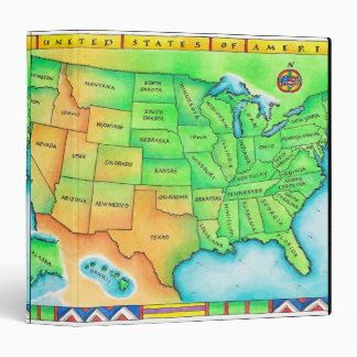Map of the USA 3 Ring Binder
