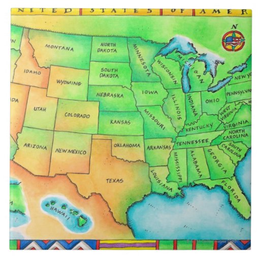 Map of the USA Ceramic Tiles