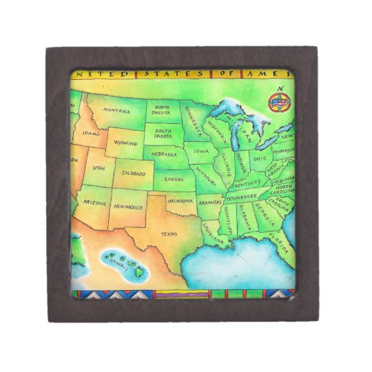 Map of the USA Jewelry Box