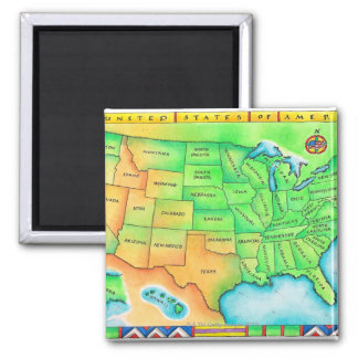 Map of the USA Magnets