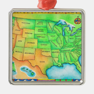 Map of the USA Metal Ornament