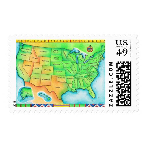 Map of the USA Postage Stamp