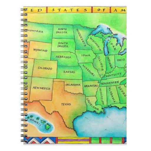 Map of the USA Spiral Notebooks