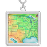 Map of the USA Square Pendant Necklace
