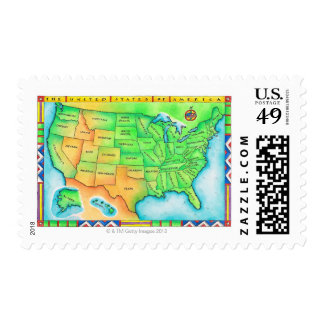 Map of the USA Stamp