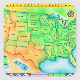 Map of the USA Square Stickers