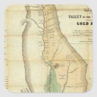 Map of the Valley of the Sacramento Square Sticker