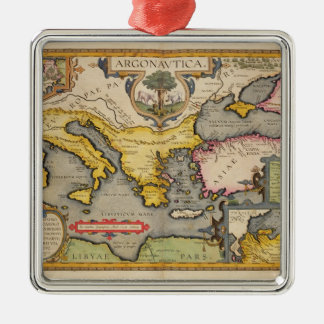 Map of the Voyage of the Argonauts Metal Ornament