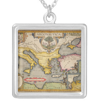Map of the Voyage of the Argonauts Square Pendant Necklace