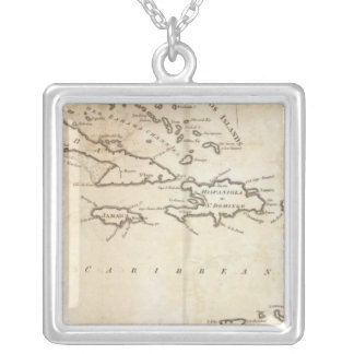 Map of the West Indies 2 Silver Plated Necklace