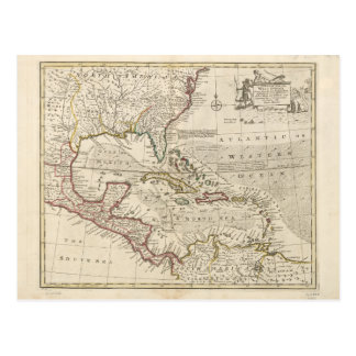 Map of the West Indies by Emanuel Bowen (1752) Postcard