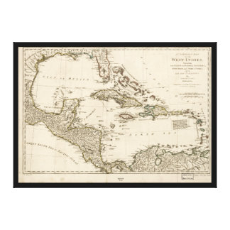 Map of the West Indies by Samuel Dunn (1774) Canvas Print