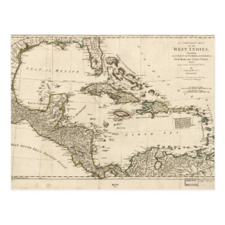 Map of the West Indies by Samuel Dunn (1774) Postcard