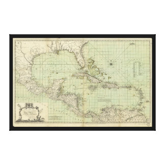 Map of the West Indies by William Guthrie (1777) Canvas Print