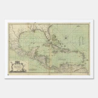 Map of the West Indies by William Guthrie (1777) Yard Sign