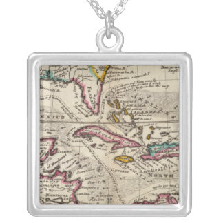 Map of the West Indies, Mexico or New Spain Silver Plated Necklace