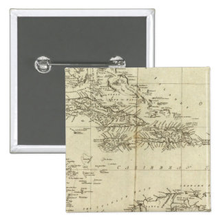 Map of the West Indies Pinback Button