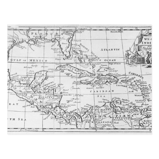 Map of the West Indies Postcard