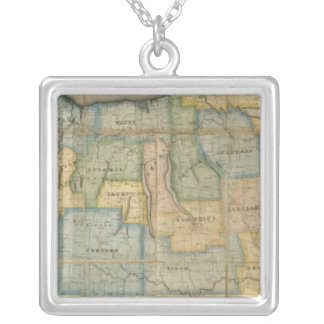 Map of the Western Part of the State Of New York Silver Plated Necklace